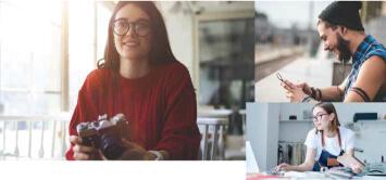 vrouw met camera in webinar