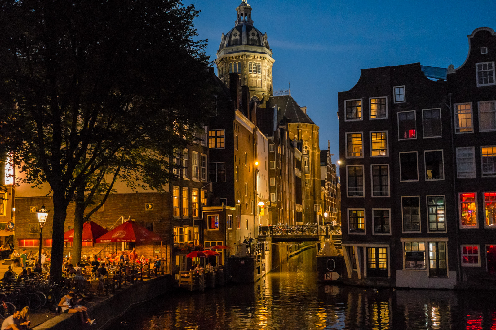Amsterdam Photo by night canal and terras