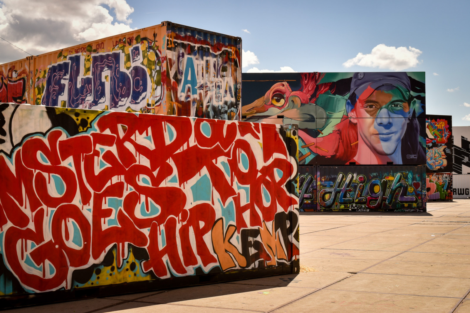 Containers with graffiti in Amsterdam