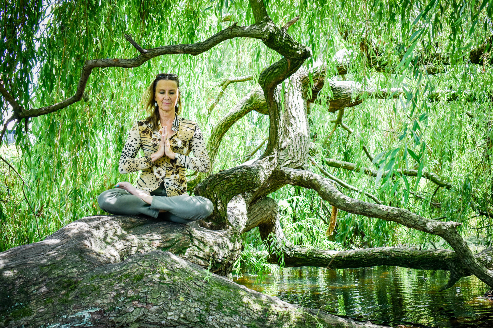 Yoga coach Suzy-Yoga Suzanna in Amsterdam on tree