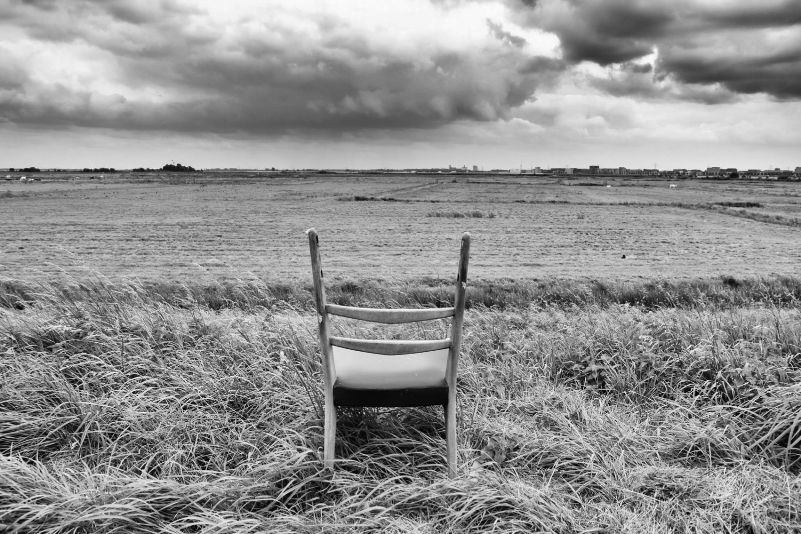 Amsterdams polder view with chair