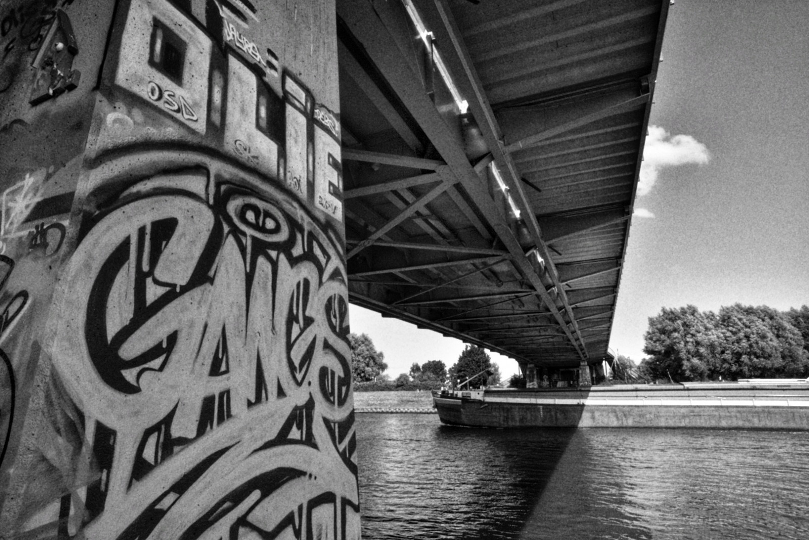Old Amsterdam bridge with graphity