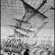 Street Art Sailing Ship in Amsterdam