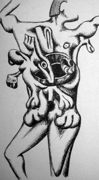 man-giving-birth-drawing-in-black-and-white