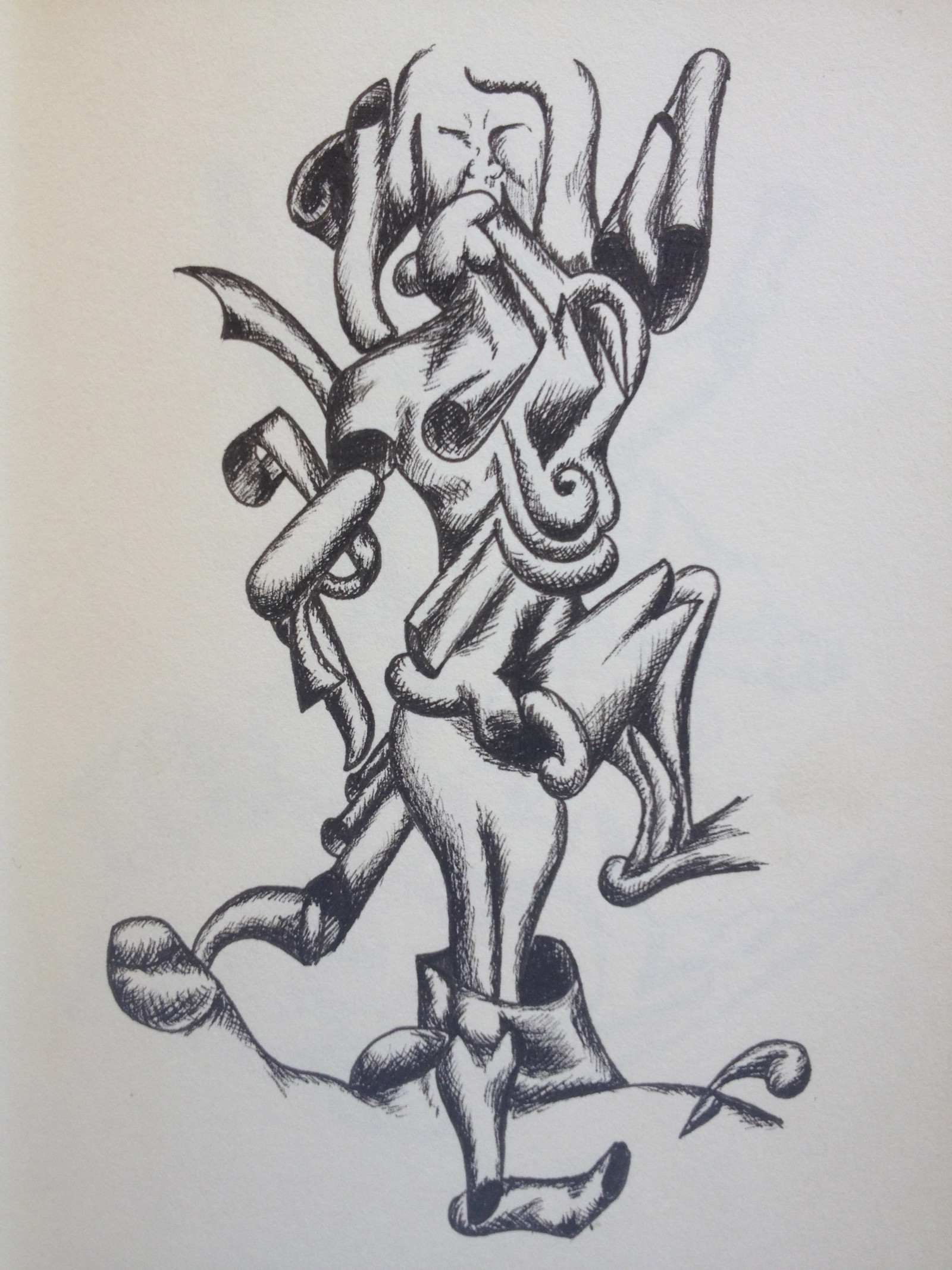 dancing-woman-black-and-white-pen-drawing