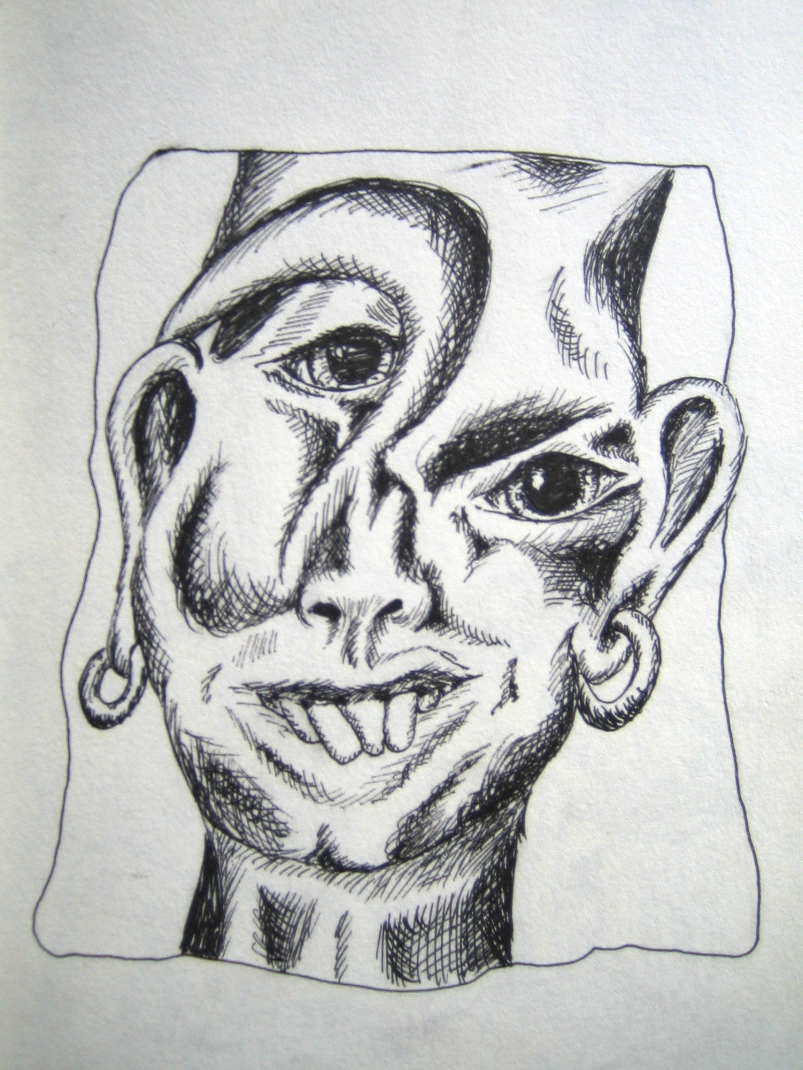mirrow-face-black-and-white-drawing-with-pen