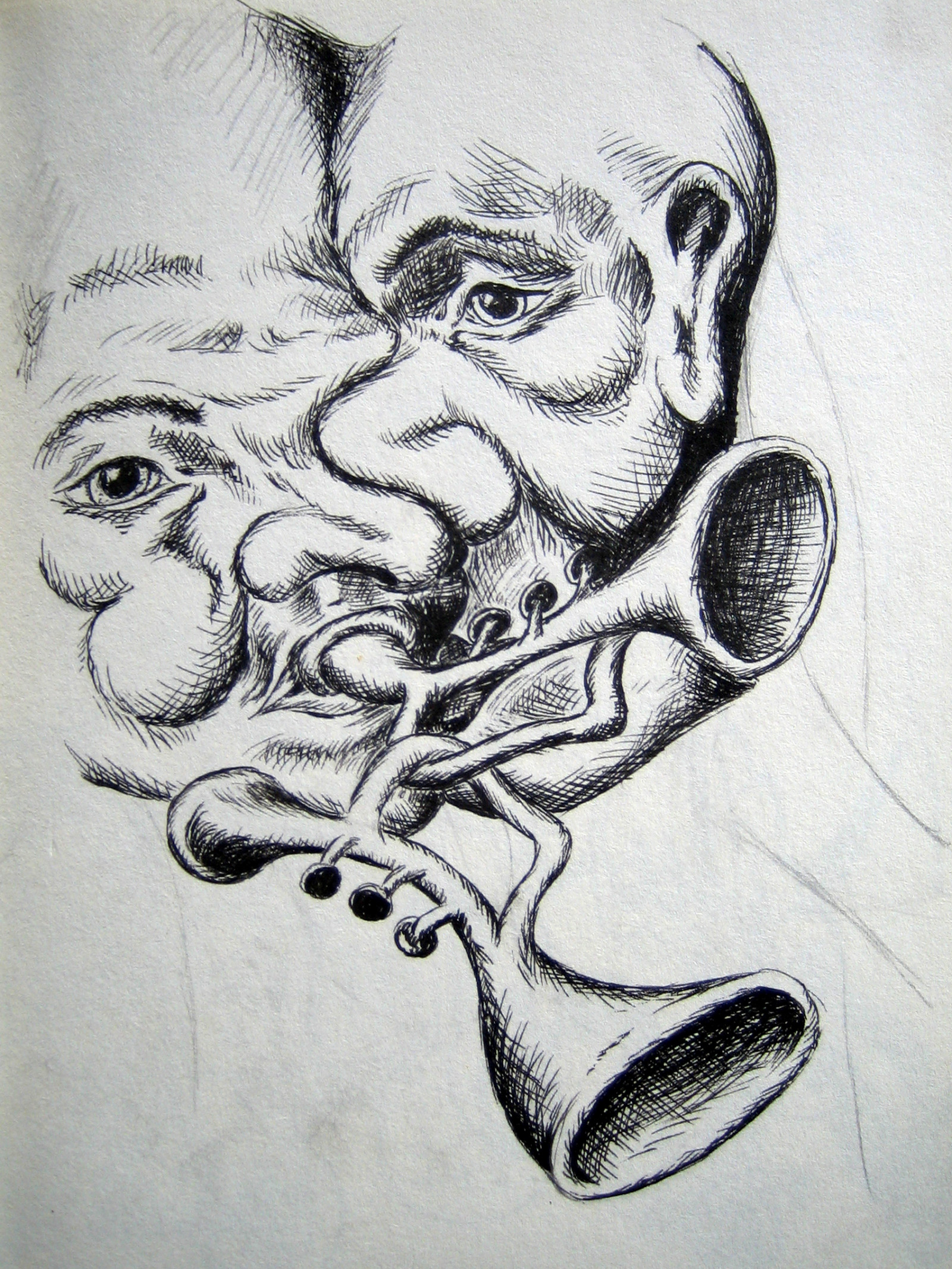 two-man-playing-1-trumpet-black-and-white-drawing-with-pen